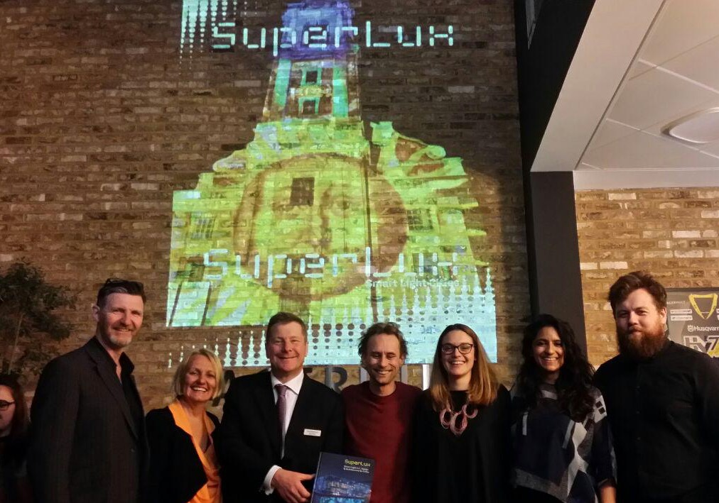 Key contributors at the SuperLux London launch party: from left, Tony Rimmer (Studio-29), Davina Jackson (SuperLux editor), Tony Browne (Fagerhult MD), Joe Catchpole (projections), Melissa Woolford and Meneesha Kellay (Museum of Architecture), Calum McConnachie (ING PR). (Vicenzo Giordano)